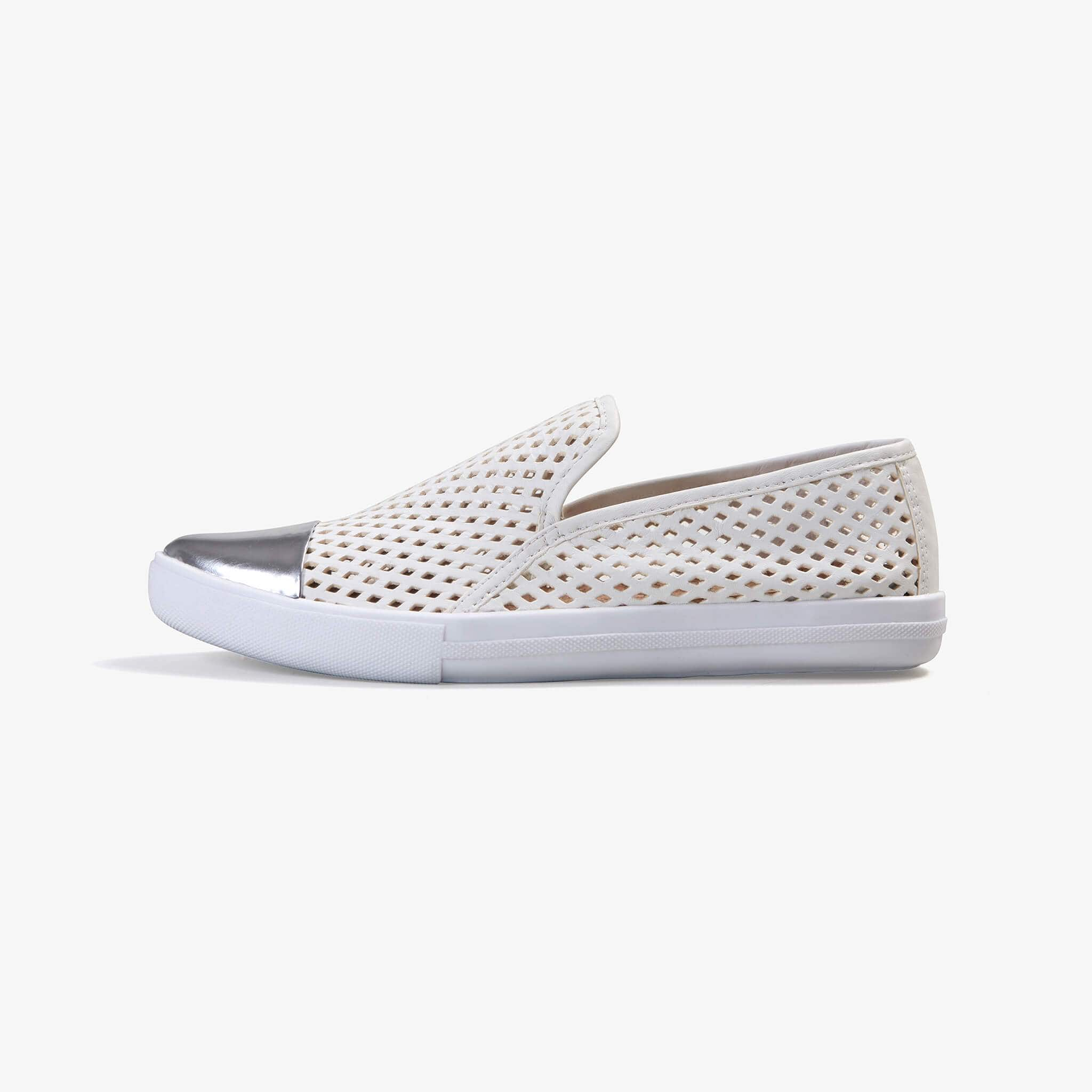 Jibs Slim White + Silver Slip On Sneaker Flat Shoe Side