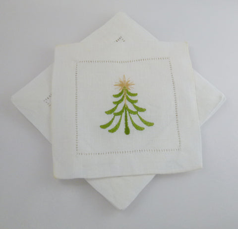 4 Made to Order Christmas Tree Design 100% Linen Cocktail Napkins
