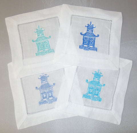 4 Made to Order Baby Pagoda Cotton/Linen Blend Cocktail Napkins