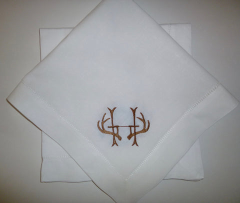 8 Made to Order Antler Hemstitched Dinner Napkins