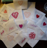 12 Made to Order HEART Hemstitched Dinner Napkins