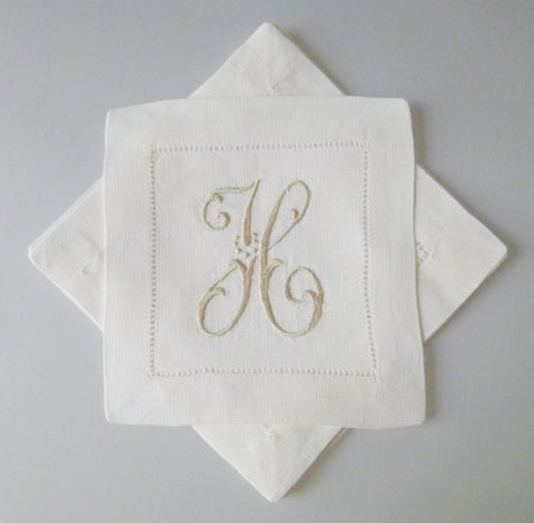 4 Made to Order Caroline Font 100% Linen Cocktail Napkins