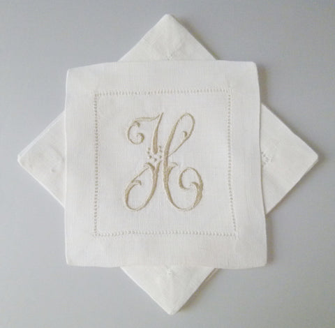 6 Made to Order Caroline Font 100% Linen Cocktail Napkins