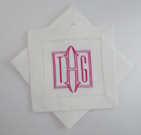 6 Made to Order Square Font 100% Linen Cocktail Napkins