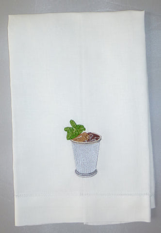 Made to Order Mint Julep Design Linen Hand Towel