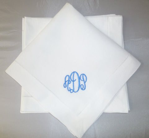 8 Made to Order Empire Font Hemstitched Dinner Napkins