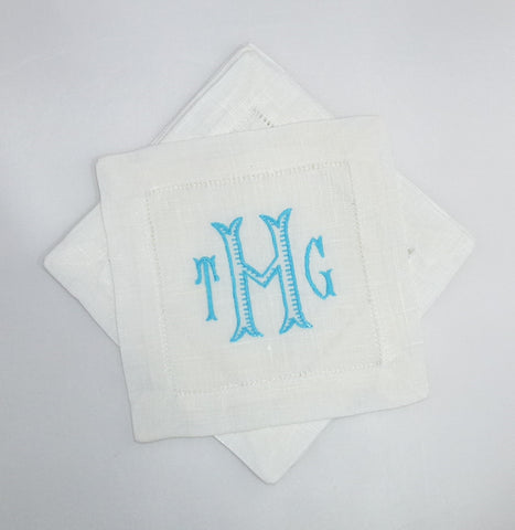 4 Made to Order Seagrove Font 100% Linen Cocktail Napkins