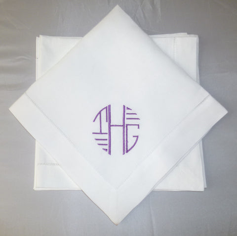 4 Made to Order Art Deco Font Hemstitched Dinner Napkins