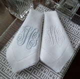 12 Made to Order Ivy Font Hemstitched Dinner Napkins