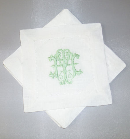 4 Made to Order Antique Font Hemstitched Dinner Napkins