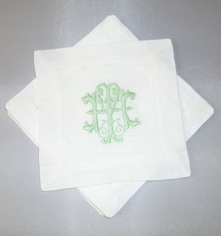 12 Made to Order Antique Font Hemstitched Dinner Napkins