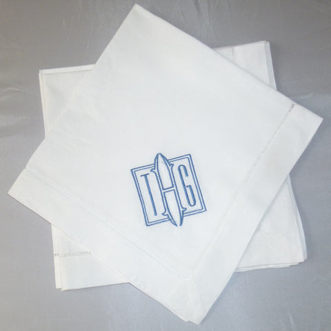 4 Made to Order Square Font Hemstitched Dinner Napkins