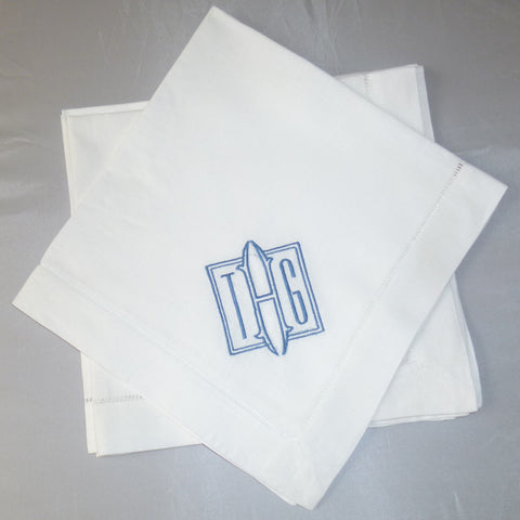 8 Made to Order Square Font Hemstitched Dinner Napkins
