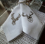 12 Made to Order Antler Deer Head Design Hemstitched Dinner Napkins