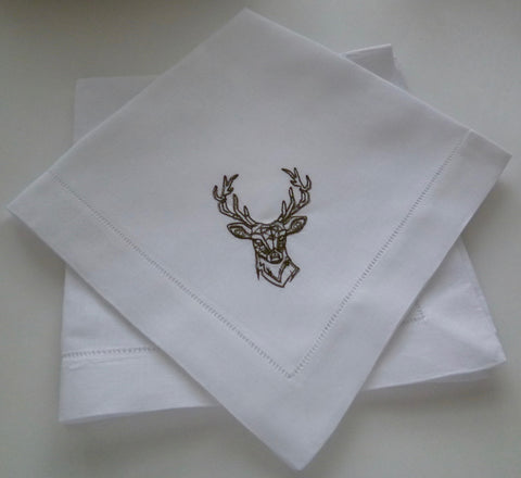 4 Made to Order Antler Deer Head Hemstitched Monogrammed Dinner Napkins