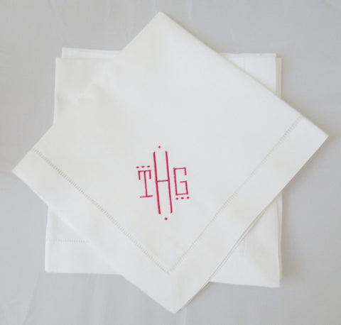 8 Made to Order Montgomery Font Hemstitched Dinner Napkins