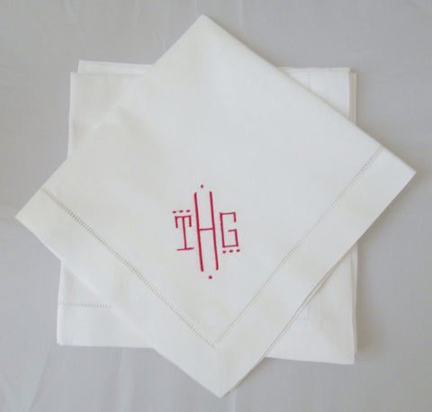 4 Made to Order Montgomery Font Hemstitched Dinner Napkins