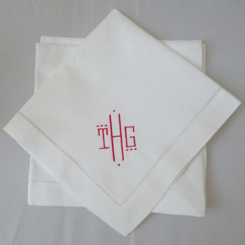 12 Made to Order Montgomery Font Hemstitch Dinner Napkins