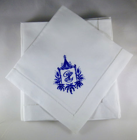 8 Made to Order Pagoda Frame Hemstitched Dinner Napkins