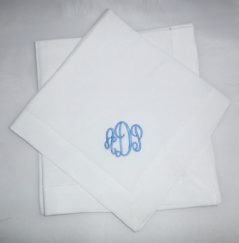 12 Made to Order Empire Font Hemstitched Dinner Napkins