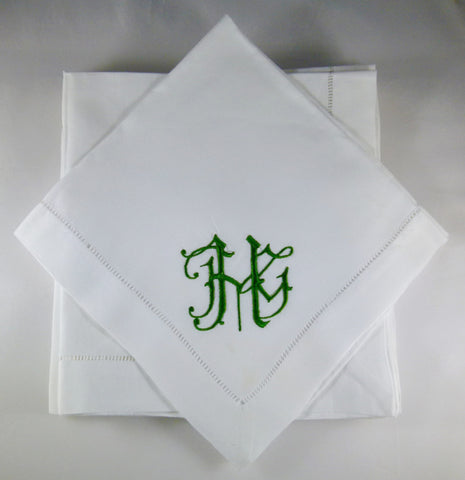 12 Made to Order Teresa Font Hemstitched Dinner Napkins