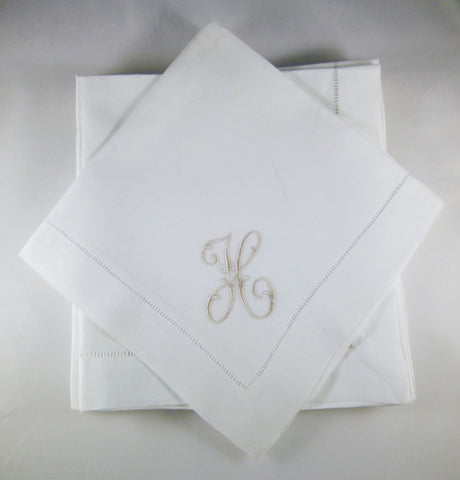4 Made to Order Caroline Font Hemstitched Dinner Napkins