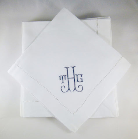 4 Made to Order Shirley Font Hemstitched Dinner Napkins