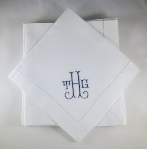 12 Made to Order Shirley Font Hemstitched Dinner Napkins