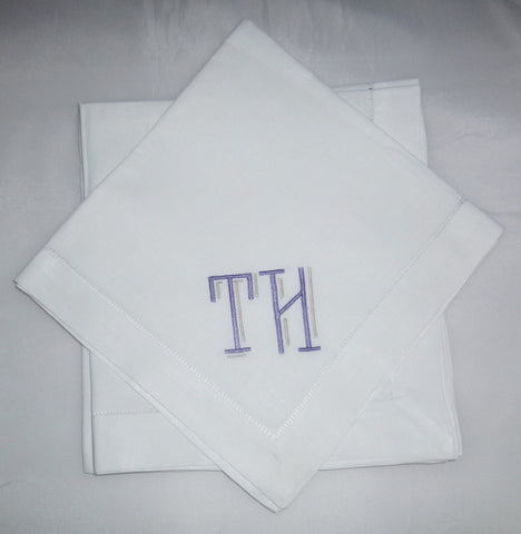 4 Made to Order Reagan Font Hemstitched Dinner Napkins