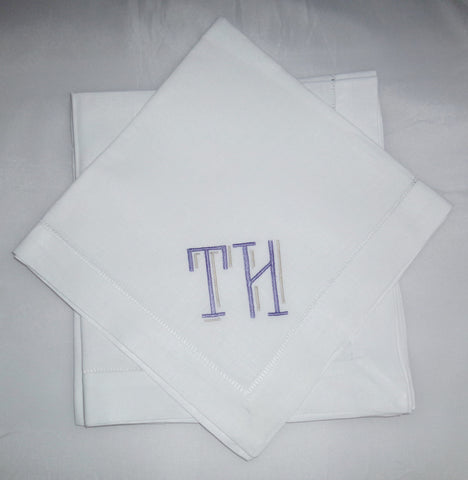 12 Made to Order Reagan Font Hemstitched Dinner Napkins