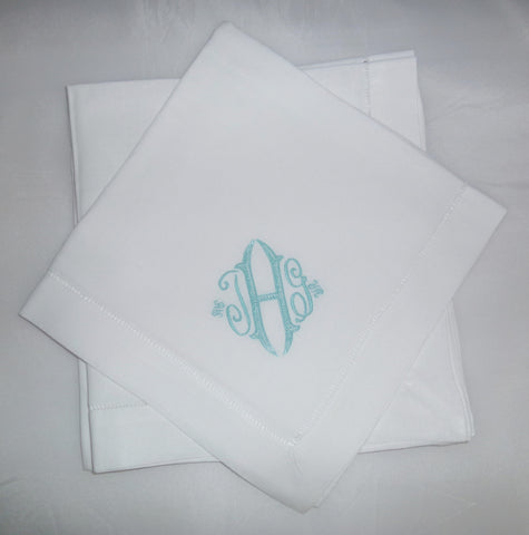8 Made to Order Seagrove Font Hemstitched Dinner Napkins