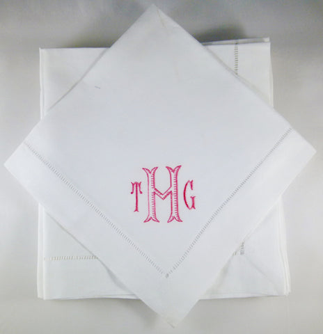 12 Made to Order Leslie Font Hemstitched Dinner Napkins