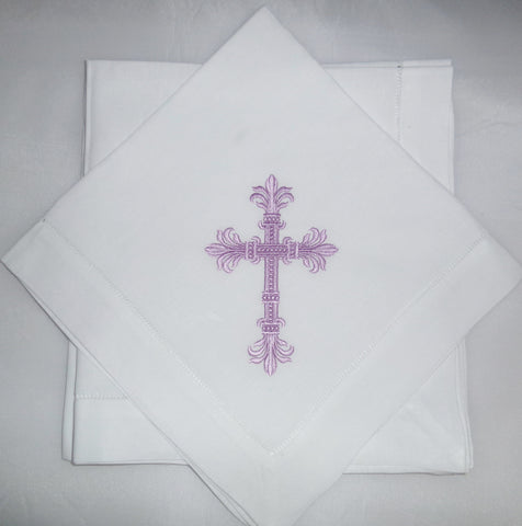 4 Made to Order Cross Design Hemstitched Dinner Napkins