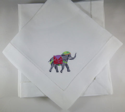 4 Made to Order Elephant Design Hemstitched Dinner Napkins