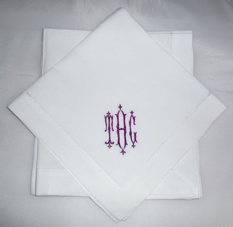 12 Made to Order Royal Font Hemstitched Dinner Napkins