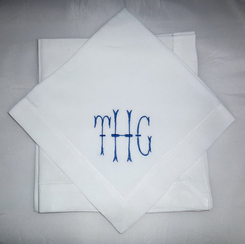 4 Made to Order Taylor Font Hemstitched Dinner Napkins