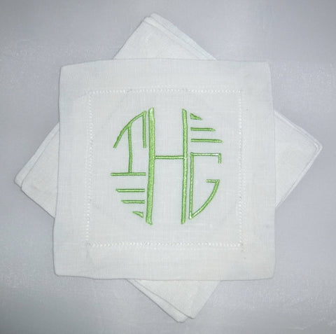 4 Made to Order Art Deco Font 100% Linen Cocktail Napkins