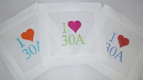 4 Made to Order 30A 100% Linen Hemstitched Cocktail Napkins