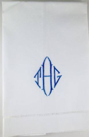 Made to Order Diamond Font Linen Hand Towel
