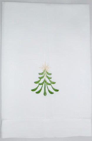 Made to Order Christmas Tree Design Linen Hand Towel