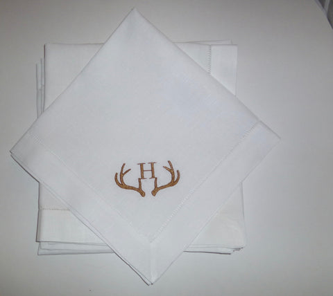8 Made to Order Antler Monogrammed Dinner Napkins