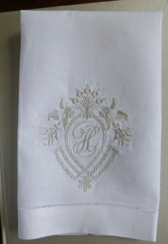 Made to Order Frame Crest Hemstitched Linen Hand Towel