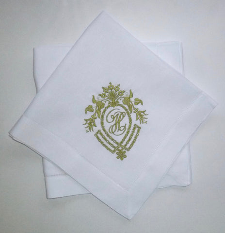 12 Made to Order Frame Crest 100% Linen Hemstitched Dinner Napkins