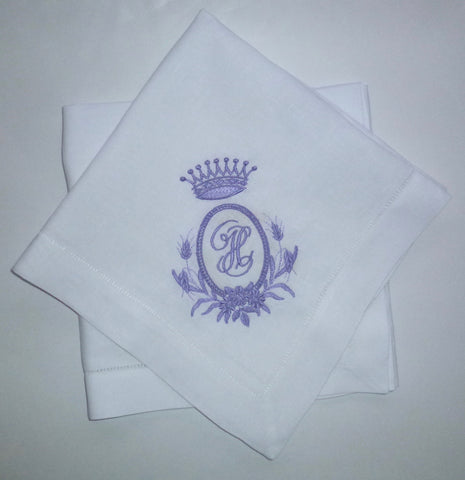 12 Made to Order Crown Frame 100% Linen Hemstitch Dinner Napkins