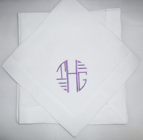 8 Made to Order Aft Deco Font Hemstitched Dinner Napkins