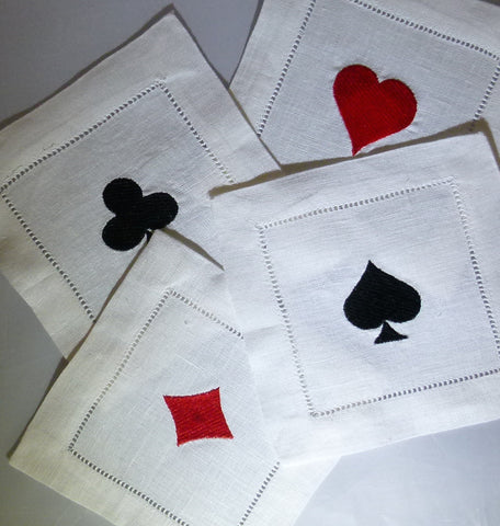 4 Made to Order 100% Linen Playing Cards Cocktail Napkins
