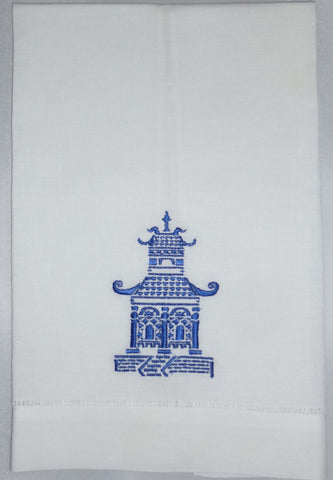 Made to Order Pagoda Design Linen Hand Towel