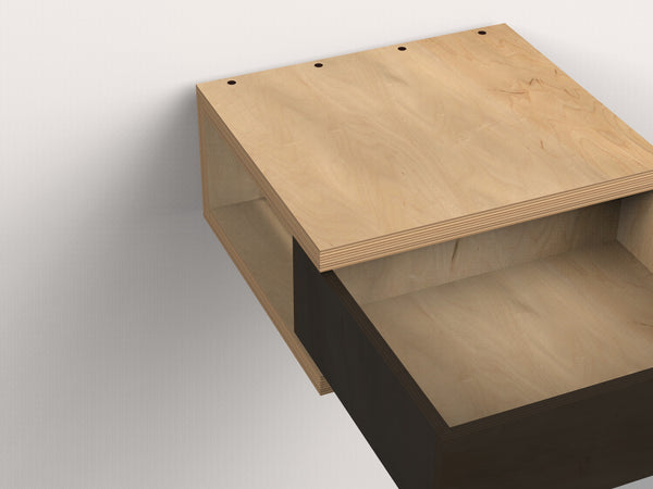 C Floating Side Table - push-touch latch drawer