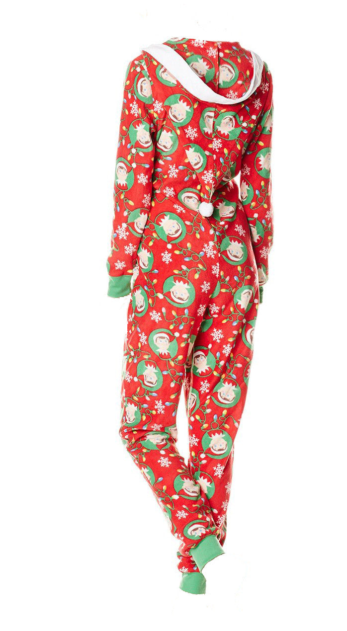 Elf Onesie Holiday Ladies Zip Pajama