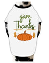 Give Thanks Dog Shirt White with Black Small